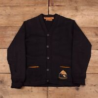 "Mens Vintage Lasley Knitting 1950s Navy Wool Cardigan Sweater Small 36"" XR 9797"