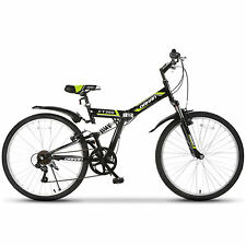"26"" Folding Mountain Bike Foldable Hybrid Bike 7 Speeds & Full Suspension Black"
