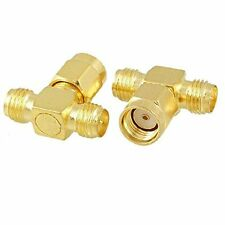 RP SMA Male to 2 RP SMA Female T RF Connector Splitter (Pack of 2) USA