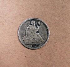 "1837 Seated Half Dime grades VF, Rim Bump, Full ""Liberty"""