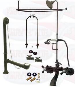 Oil Rubbed Bronze Clawfoot Tub Faucet Kit W/Shower Riser, Enclosure , & Drain