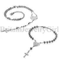 Stainless Steel Prayer Cross Beaded Rosary Chain Bracelet Necklace Set Men Women