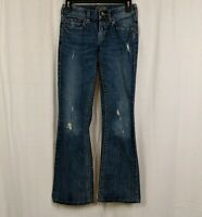 Silver Aiko Boot Cut Flare Distressed Jeans Denim Pants Women's Size W24 x L33