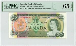CANADA 20 Dollars 1969, BC-50a Beattie Rasminsky, PMG 65 EPQ Gem UNC, QEII Note