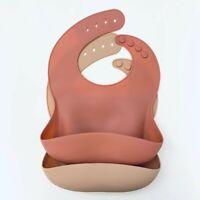 BPA-free Modern Waterproof Baby Bib Soft Adjustable Silicone Pocket Catcher