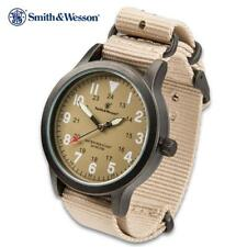Smith & Wesson Tan Canvas Tactical Military Case 30m Water Resistant Watch