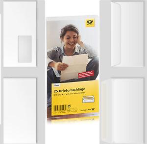 Briefumschlag DIN Lang und C6 weiß klebende Umschläge mit u. ohne Fenster