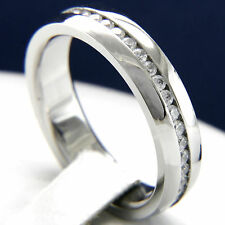 Wedding Band Men's Stainless Steel Engagement Eternity CZ Bridal Ring