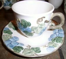 METLOX POPPYTRAIL 'SCULPTURED GRAPE' CUP & SAUCER, EUC, (4)