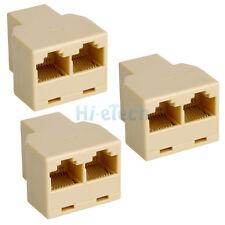 Lot 3Pcs High Quality Rj45 Cat5 6 Ethernet Splitter Adaptor Connector US Ships