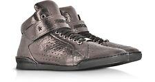 Jimmy Choo Lewis Soft Calf Metallic Gunmetal (Bronze) High Top Sneakers $775 New