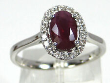 Thailand Ruby Ring Halo 14K white gold Heirloom Deep Red Ruby Natural Free