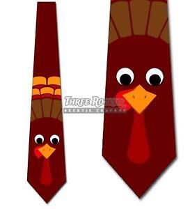 Thanksgiving Ties Men's Turkey Fun Animal Necktie