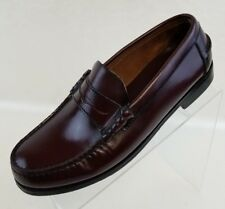 Oakton Classics Penny Loafers Moc Toe Burgundy Leather Slip On Mens Shoes Sz 8D
