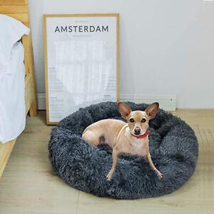 Anti-anxiety Calming Bed Pet Dog Donut Bed Cushion Non-slip Bottom Plush Nest AU