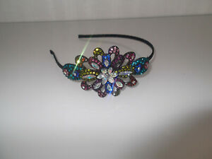 Stunning Handmade Black Band With Coloured Crystals  Design Headband