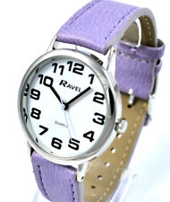 Ravel Ladies Bold BIG Number Watch with BIG Face and Extra LONG Lilac Strap