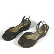 Nine West Brown Suede Ankle Strap Heels Wedges Platform Shoes Brown Heels Sz 7.5