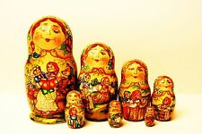 "Alkota Russian Authentic Collectible Nesting doll ""Russian Villagers"", 8"" Unique"