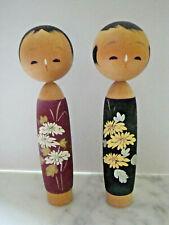 2 ANCIENNE POUPEE JAPONAISE COUPLE DU JAPON EN BOIS KOKESKI DECOR FLEURS