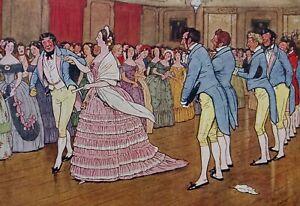 Cecil Aldin 1911 Comic print. Handley Cross novel. Victorian dance, period dress