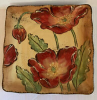 """Maxcera Poppy Splatter Floral Plate 9"""" Square, Mint Condition —6 Available"""