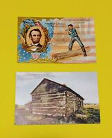 Bundle of 2 Old Antique Vintage Abraham Lincoln Presidential Patriotic Postcards