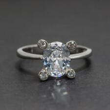 Beautiful 1.84ctw Diamond Cut White Sapphire Sterling Silver Ring 3.2g