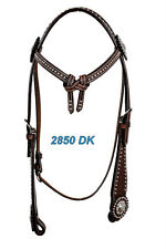 Western Dark Oil Silver Spot Studded Futurity Style Headstall with Conchos