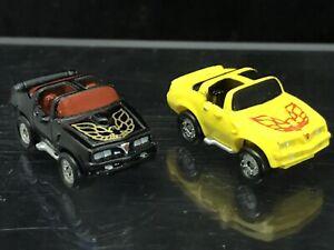 (2) Galoob 1986 Micro Machines Pontiac Trans Am Black W/Red Windows & Yellow