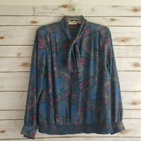 Alfred Dunner Womens Size 14 Top Blouson Self Tie Long Sleeve Paisley Blue
