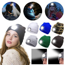 Unisex LED Beanie Hat Knitted Rechargeable Head Lamp Warm Outdoor Camping Cap