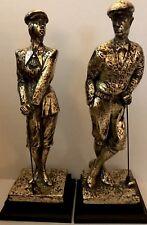"""AUSTIN SCULPTURE Pair Of Golfers """" Plus Fours"""" & """"Birdie"""" Art Deco Statues Large"""