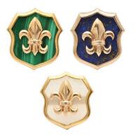 Gold Plated 925 Sterling Silver Gemstone Fleur De Lis Cufflinks Men's Jewelry