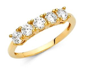 .75 Ct Round Cut 14k Yellow Gold 5-Stone Wedding Anniversary Band Stackable Ring