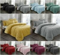 Teddy Bear Sherpa Fleece Thermal Warm Soft Cosy cushy Bedsheet+Pillowcases Set