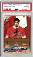 2018 TOPPS OPENING DAY #200 SHOHEI OHTANI PSA GEM MINT 10 ROOKIE