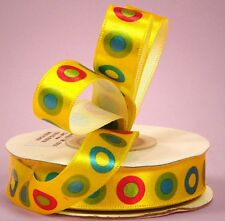 5/8 inch wide Layered Dot Satin Ribbon Yellow  price for 3 yards