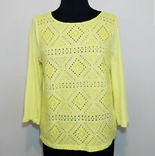J. Crew Womes Medium Bright Yellow Eyelet Button Down Back Pullover Cotton