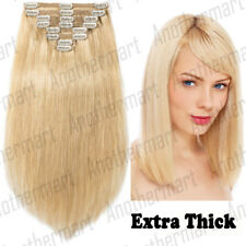 THICK Clip in Remy Human Hair Extensions Full Head Double Wefted Blonde US P579