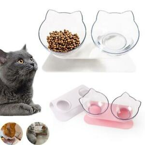 Double Elevated Cat Dog Pet Bowl Feeder Food Water Raised Lifted Stand Bowls