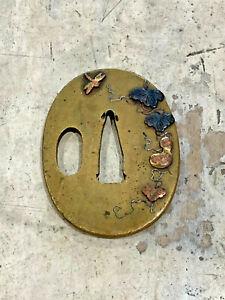 Small old Japanese soft metal inlaid bronze sword tsuba