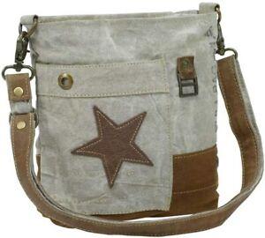 Myra Bags Leather Star Upcycled Canvas Medium Crossbody Bag