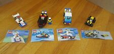 4 Lego Racing sets- 6537,1990,1991,4308- boat, pickup, cars; manuals & minifigs
