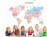 Removable World Map Colorful Wall Sticker For kid Room Home Decor Bedroom USA