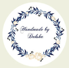 24 x 40mm Personalised Stickers Round Labels Floral Handmade Craft 105