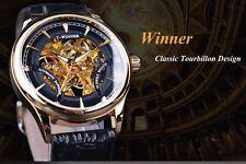 Winner 2017 Fashion Black Golden Luxury Design Skeleton Watch. US SELLER !!!