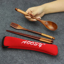 Wood Cutlery Kitchen Dinner Flatware set Spoons Fork Chopsticks Camping Outdoor