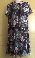 Debenhams Classic Uk 20 Eu48 Semi Sheer Lined Dress Scarf Collar Blue Floral