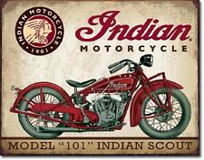 Model 101 Indian Scout Motorcycle TIN SIGN Wall Decor Garage Shop Metal Poster